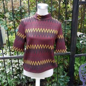Zara zigzag mock neck top size L